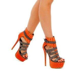 Paper Fox Crocskin Strappy Platform Heels Size 8